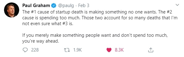 Investidor anjo paul Graham sobre a causa da morte de startups
